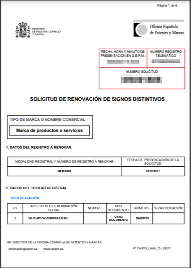 Documento de renovación de marca